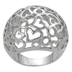 Silvertone Circle and Heart Cut-out Dome Ring