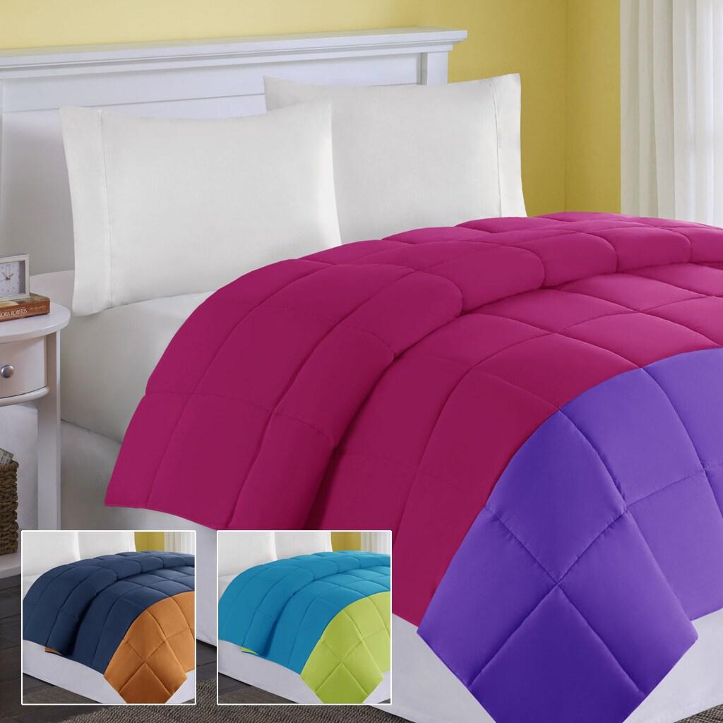 Comfort Classics Colorblock Twin- size Down Alternative Comforter