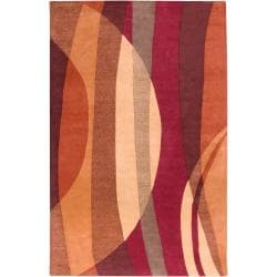 Hand-tufted Contemporary Multi Colored Stripe Maghull New Zealand Wool Abstract Rug (9' x 13')