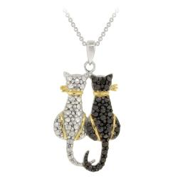DB Designs Tri-color Black Diamond Accent Two Cats Necklace