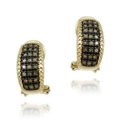 DB Designs 18k Yellow Gold over Sterling Silver 1/2ct TDW Brown Diamond Earrings