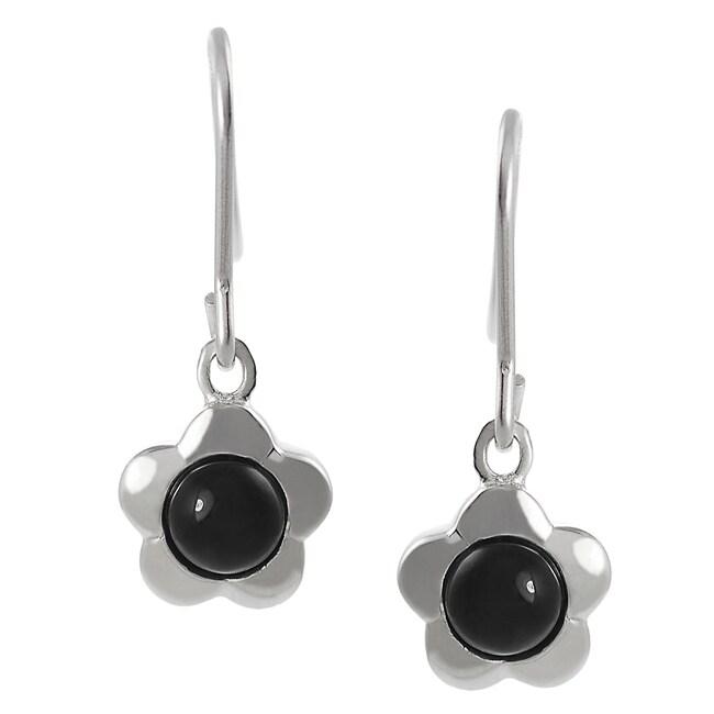 Journee Sterling Silver Created Black Onyx Flower Earrings