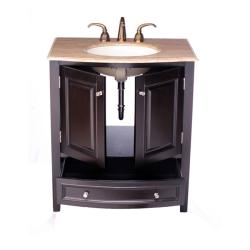 Silkroad Exclusive 32-inch Travertine Stone Top Bathroom Vanity Lavatory Single Sink Cabinet