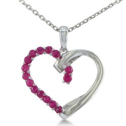Sterling Silver 1/2 ct Ruby Heart Pendant