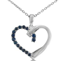 Sterling Silver 1/2ct Sapphire Heart Necklace