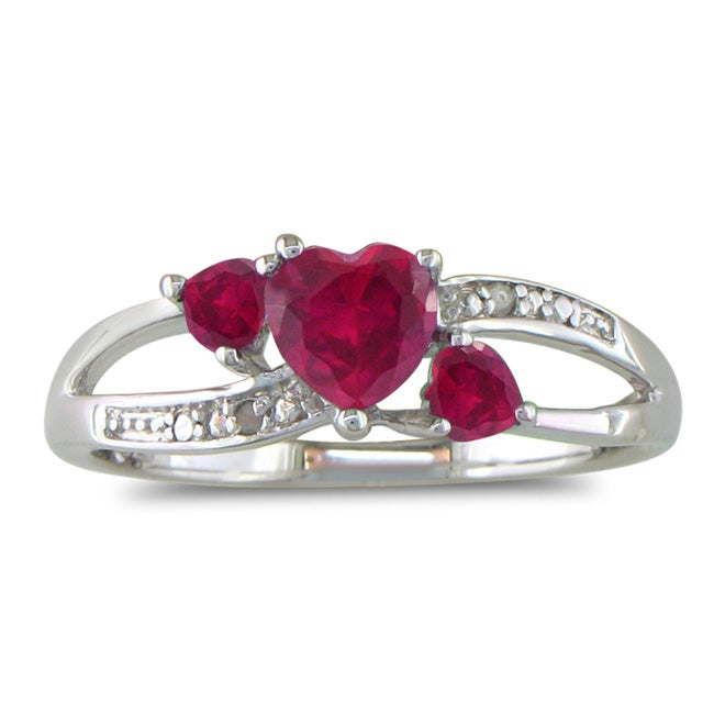Sterling Silver Created Ruby and Diamond Accent Heart Ring