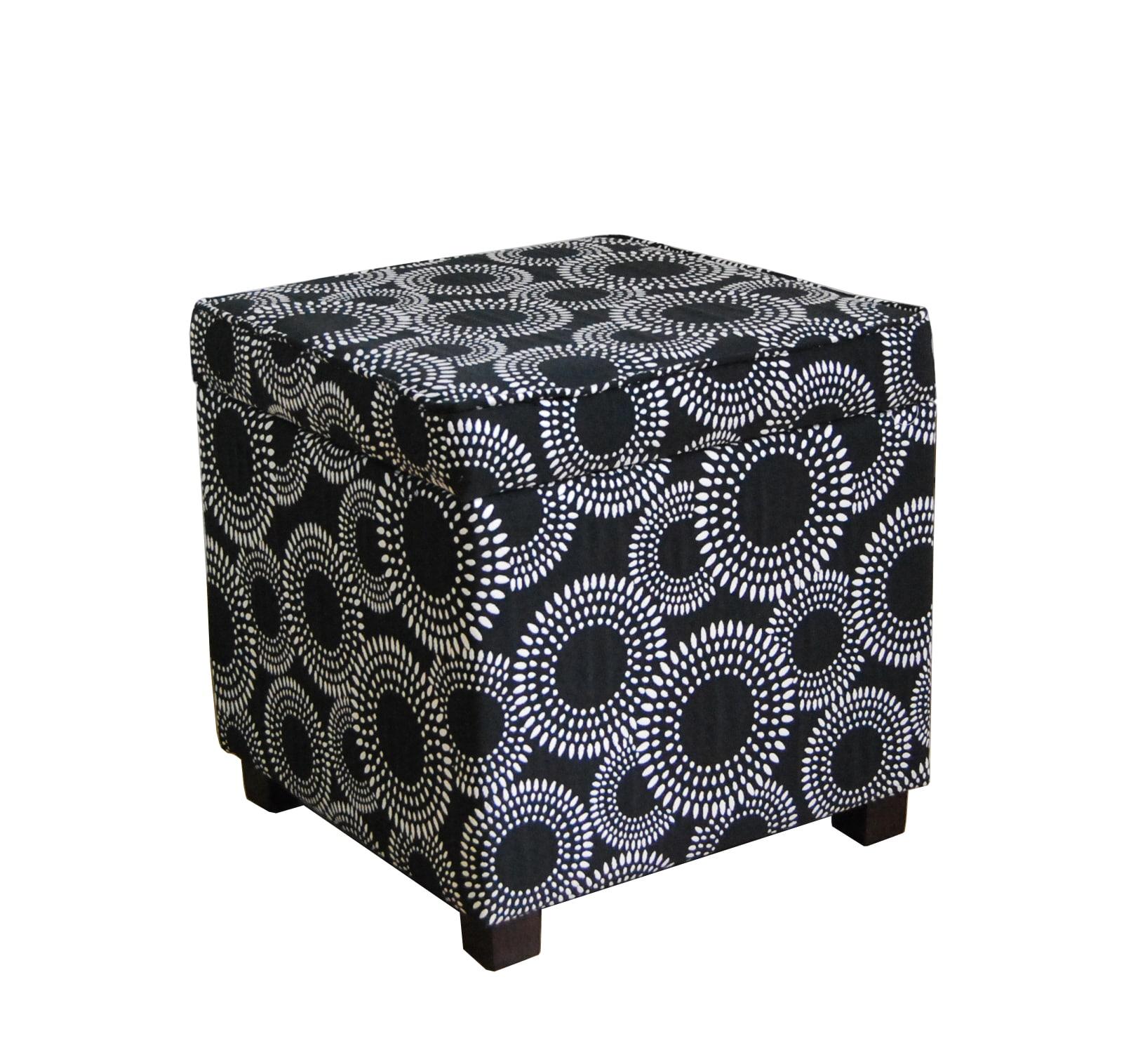 Black Circle Dot Geometric Square Storage Ottoman