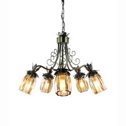 Crystal shade 5-light Antique brass finish Chandelier