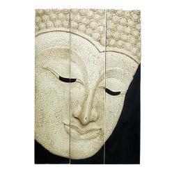 Large Acacia Wood Crackling White Three-Panel Buddha Face
