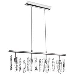 4 Light Linear Chrome Crystal Hanging Bar Pendant Light Fixture