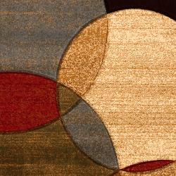 Meticulously Woven Brown Contemporary Circles Dursley Geometric Rug (7'10 x 10')