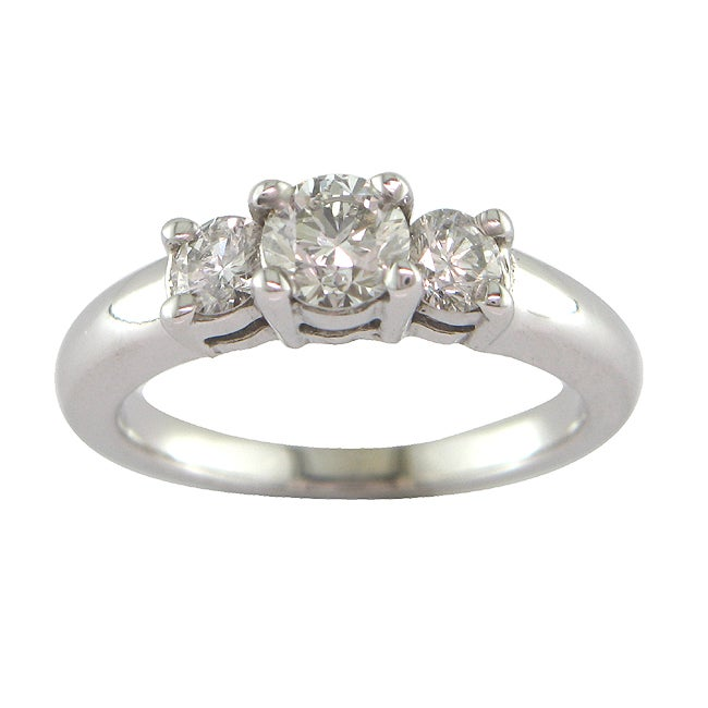 14k White Gold 7/8ct TDW Certified Clarity-Enhanced Diamond Engagement Ring (G-H, SI1-SI2)