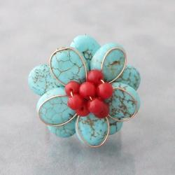 Copper Turquoise and Red Coral Flower Ring (Thailand)
