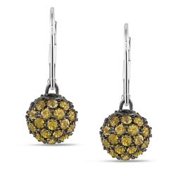 Miadora 14k White Gold Yellow Sapphire Dangle Earrings (3 2/5ct TGW)