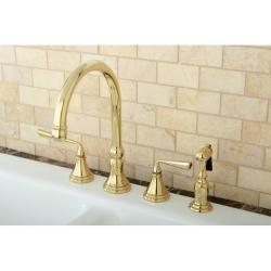 Polished Brass 4-hole Kitchen Faucet and Brass Sprayer