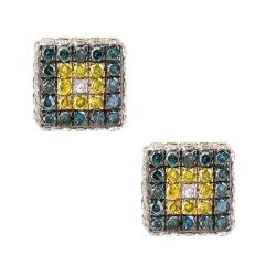 10k Yellow Gold 7/8ct TDW Multi-colored Diamond Earrings (G, I1)