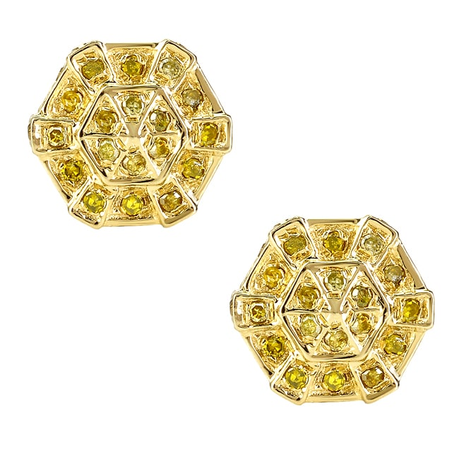10k Yellow Gold 2/3ct TDW Yellow Diamond Earrings
