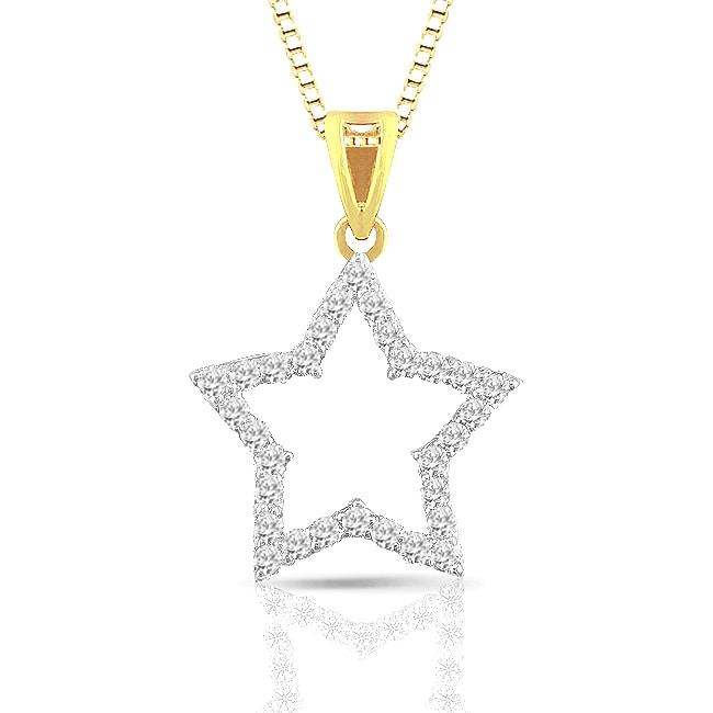 14k Two-Tone Gold 1/4ct TDW Diamond Star Necklace (H-I, I1-I2)