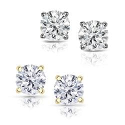 14k Gold 2ct TDW Round Diamond Hearts and Arrows Stud Earrings (E-F, SI1-SI2)