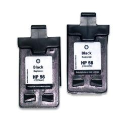 HP 56 Black Ink Cartridge (Remanufactured) (2-Pack)
