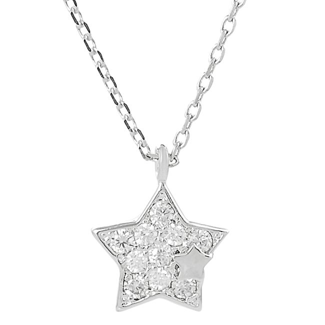 Silvertone Pave-set Cubic Zirconia Star Necklace