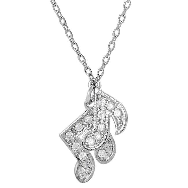 Silvertone Cubic Zirconia Musical Notes Necklace
