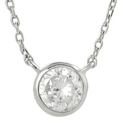 Silvertone Small Round-cut Cubic Zirconia Necklace