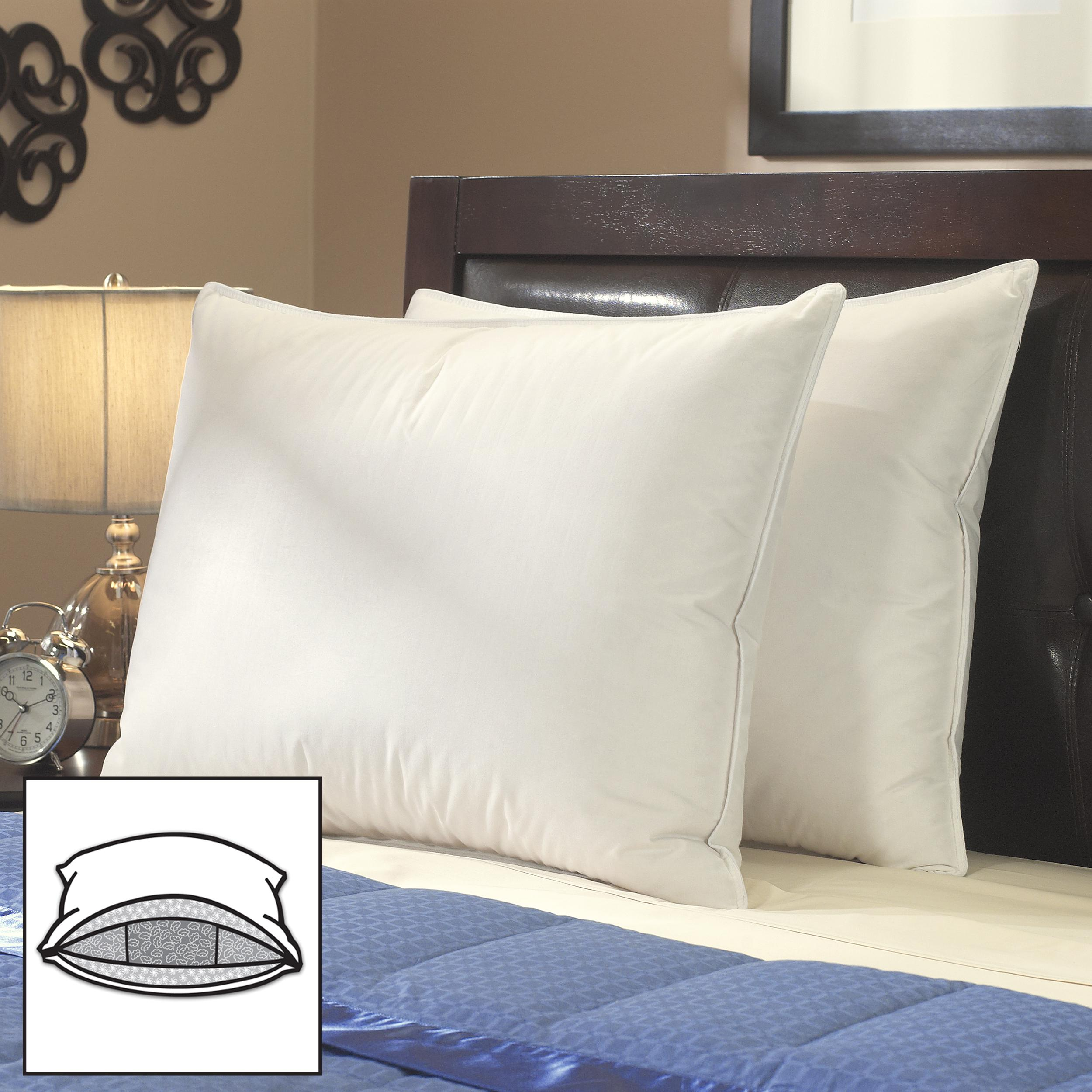 Famous Maker Enhanced High Loft Triple Chamber Down Pillows (Set of 2)