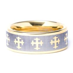Mens Tungsten Carbide Gold plated Cross Wedding Band (8 mm