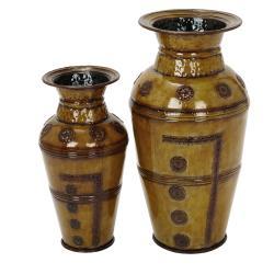 Morocco Large Rustic Decorative Metal Vase (Set of 2)