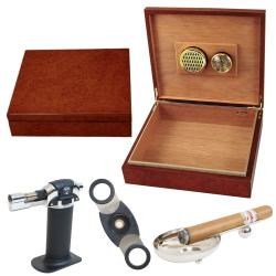 Cigar Humidor and Accessories Set Cuatro
