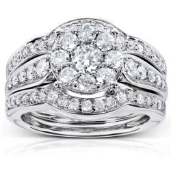 14k White Gold 1ct TDW 3-piece Diamond Bridal Rings Set (H-I, I1-I2)