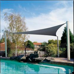 "Gale Pacific 433505 Coolaroo 16'5"" Triangle Shade Sail - Ocean Blue"