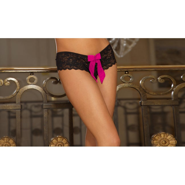 Emaje' Women's Black Crotchless Ribbon Booty Shorts