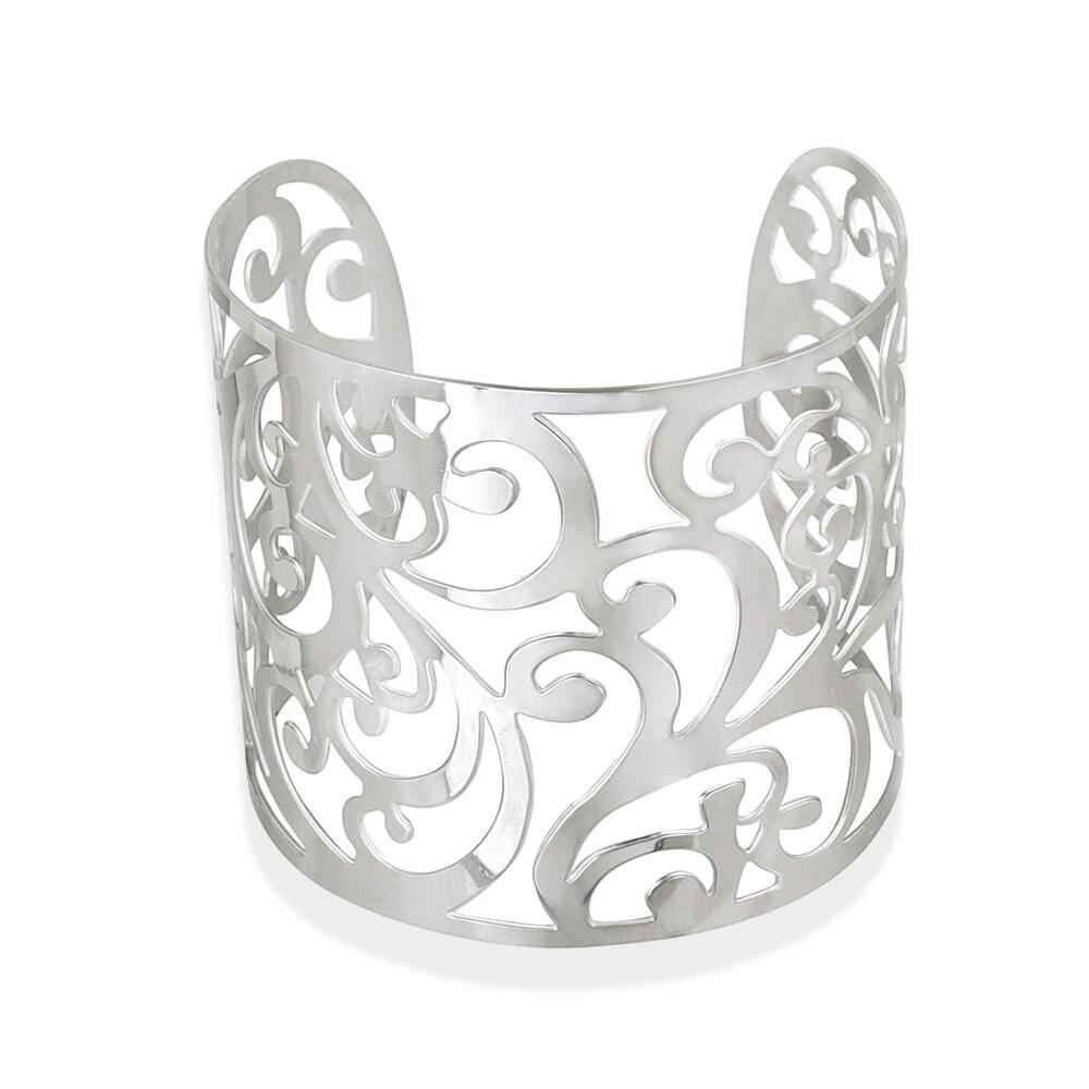 Mondevio High-polish Stainless Steel Floral-design Wide Cuff Bracelet