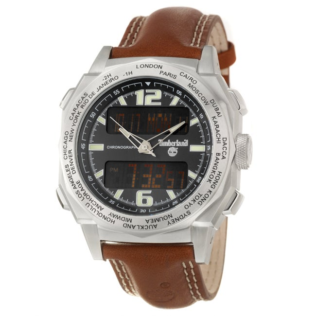 Timberland Men's 'Steprock' Stainless Steel and Leather Quartz Digital Chronograph Watch