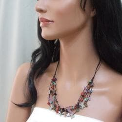 Multi-strand Gemstone Cluster Butterfly Necklace (Thailand)