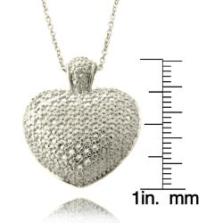 Finesque Silver Overlay Diamond Accent Heart Necklace