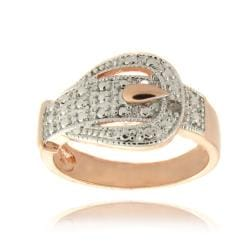 Finesque Rose Gold Overlay Diamond Accent Buckle Design Ring