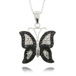 Finesque Silver Overlay Diamond Accent Black and White Butterfly Necklace