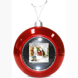 TAO Digital Photo Red Christmas Ball Ornament