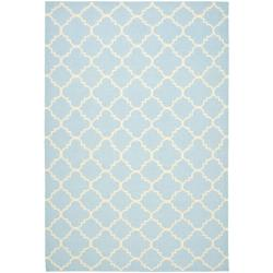 Moroccan Light Blue/ Ivory Dhurrie Wool Rug (5' x 8')