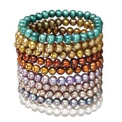Miadora Multi-colored FW Potato Pearl 10-piece Stretch Bracelet Set (7-8 mm)
