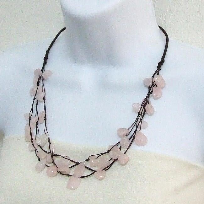 Rose Quartz Cotton Rope Floating Triple Strand Necklace (Thailand)