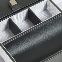 Savile Six-compartment Chrome-finish Black Leather Row Valet Tray