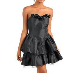 Stanzino Women's Black Rosette Embellished Strapless Dress