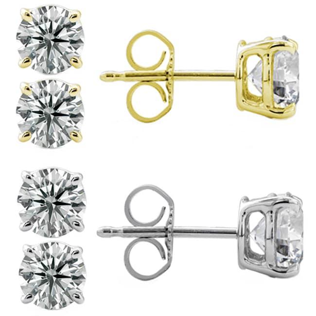 14k Gold 2ct TDW Round Diamond Stud Earrings (G-H, SII-SI2)