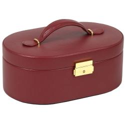Chelsea Faux-leather Oval Jewelry Box with Removable Travel Case