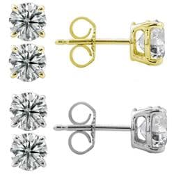 14k Gold 2ct TDW Round Diamond Stud Earrings (G-H, SII-SI2)