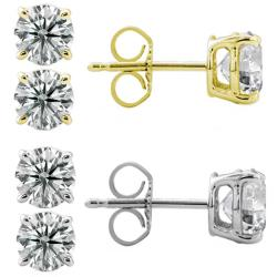14k Gold 1/2ct TDW Round Diamond Stud Earrings (G-H, I1-I2)